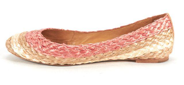 CHLOÉ Pink Beige Striped Braided Raffia Ballet Flats