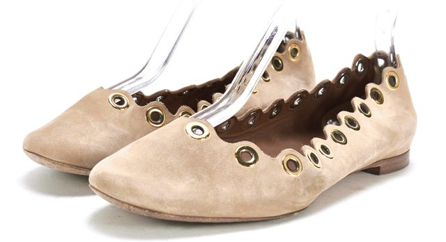 CHLOÉ CHLOÉ Tan Beige Leather Gold Grommet Scalloped Lauren Flats Size 36.5 US 6.5