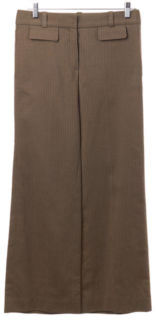 CHLOÉ Brown Pinstriped Vison Wide Leg Trousers Pants