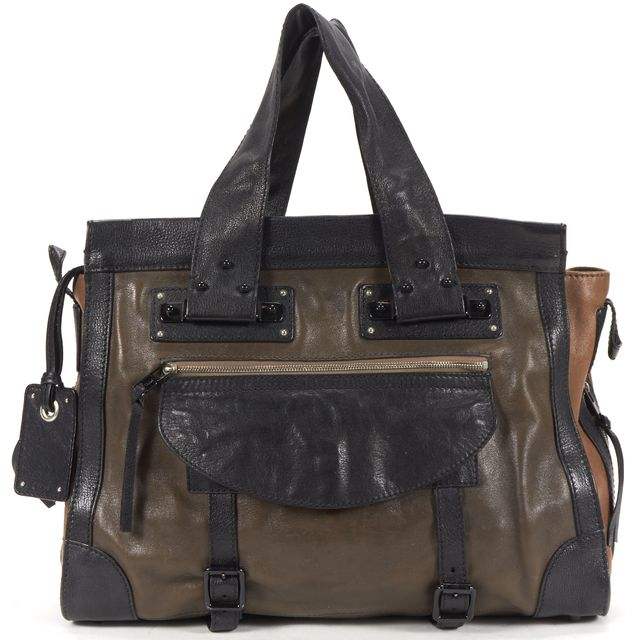 CHLOÉ Brown Black Color Block Leather Tote Bag