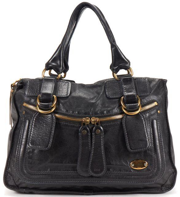 CHLOÉ Black Leather Tote Satchel Bag