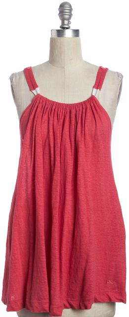 CHLOÉ Pink Linen Tunic Pleated Flared Relaxed Top