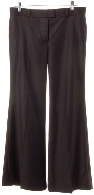 CHLOÉ CHLOÉ Brown Striped Wool Wide Leg Trousers