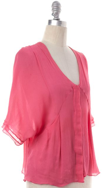 CHLOÉ Pink Sheer Crimped Short Sleeve Blouse