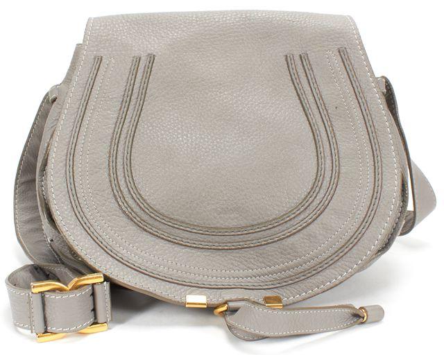 CHLOÉ Gray Pebbled Leather Medium Marcie Crossbody Handbag