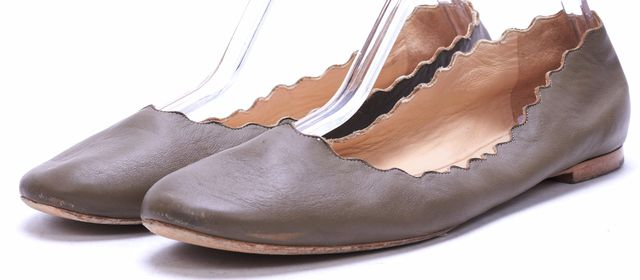 CHLOÉ Taupe Gray Leather Lauren Scalloped Round Toe Flats