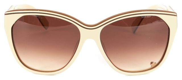 CHLOÉ Beige Brown Acetate Gradient Lens Oval Sunglasses