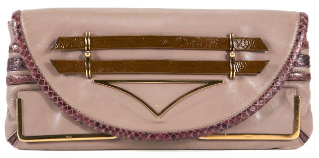 CHLOÉ Dusty Pink Leather Gold Tone Hardware Clutch