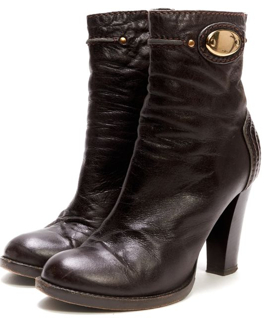 CHLOÉ CHLOÉ Brown Leather Quilted Detail Ankle Boots
