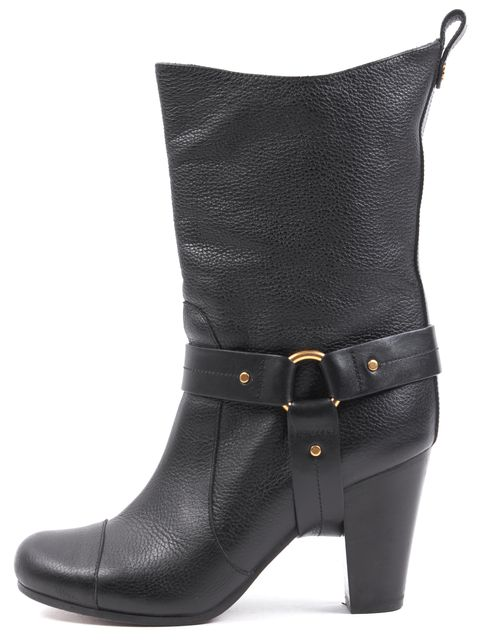CHLOÉ CHLOÉ Black Pebbled Leather Mid-Calf Boots