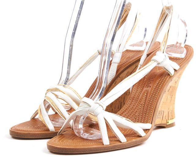CHLOÉ CHLOÉ White Leather Cork Wedges Sandals