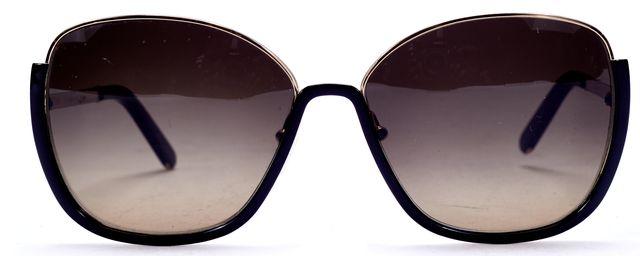 CHLOÉ Gold Metal Black Acetate Square Frame Black Lens Sunglasses