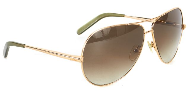 CHLOÉ CHLOÉ Gold Metal Frame Black Lens Aviator Sunglasses