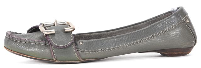 CHLOÉ CHLOÉ Faded Green Leather Slip On Loafers