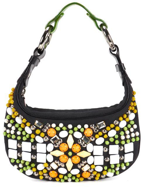 CHLOÉ CHLOÉ Black Green Orange Embellished Canvas Shoulder Bag