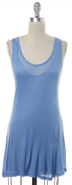 CHLOÉ Blue Casual Tunic Knit Racer Back Relaxed Fit Tank Top