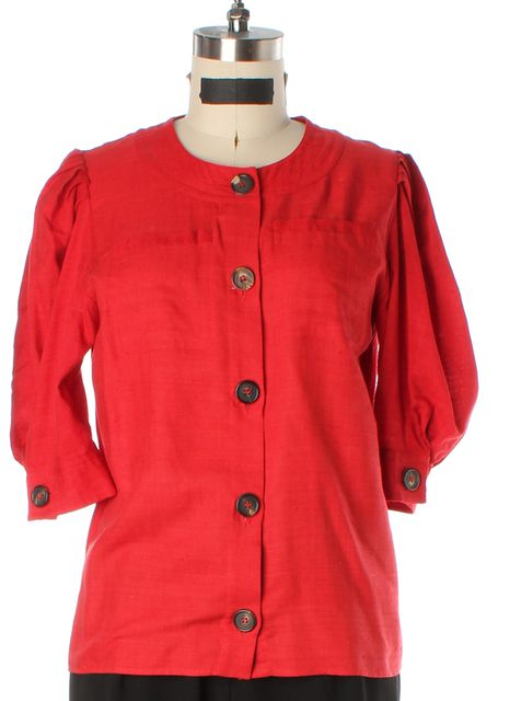 CHLOÉ Casual Red Silk Button Up Blouse