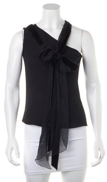 CHLOÉ Silk Black One Shoulder Bow Strap Blouse Top
