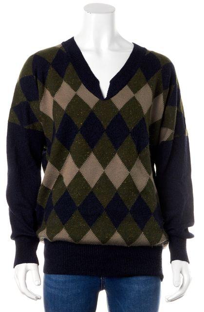 CHLOÉ Navy Blue Green Beige Geometric Print Casual Wool Boat Neck Sweater