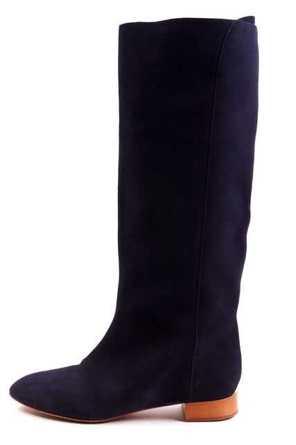 CHLOÉ CHLOÉ Navy Blue Gold Suede Round Toe Knee High Boots