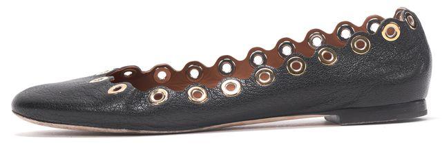 CHLOÉ CHLOÉ Black Leather Eyelet Grommet Scalloed Ballet Flats