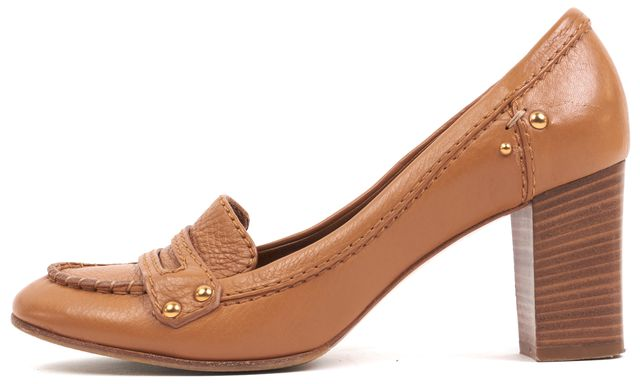 CHLOÉ CHLOÉ Tan Brown Leather Gold Stud Embellished Loafer Stacked Heels