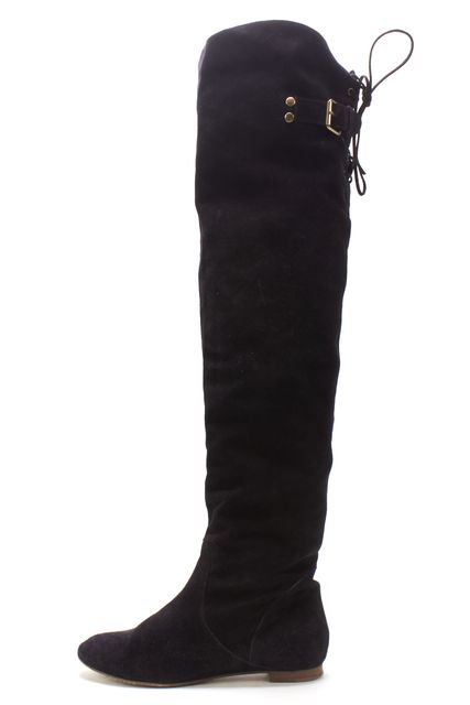 CHLOÉ Black Suede Leather Thigh High Boots