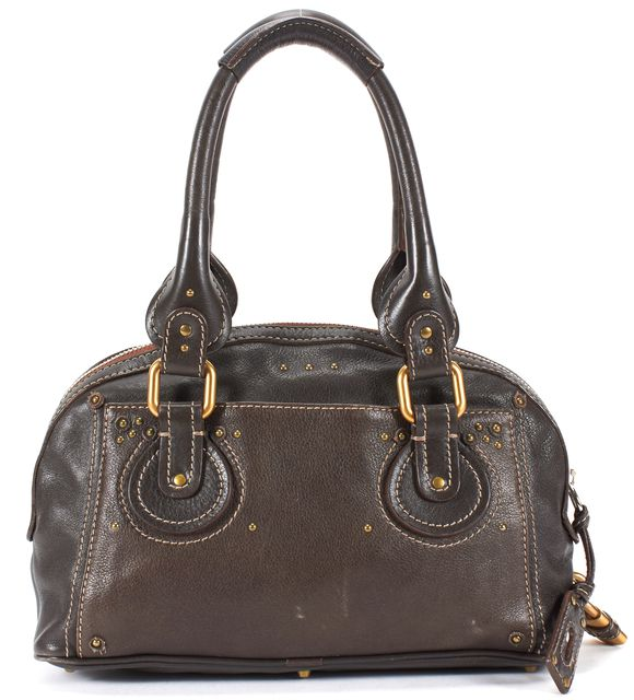 CHLOÉ CHLOÉ Brown Leather Exposed Stitch Gold Hardware Zip-up Top Handle Shoulder Bag