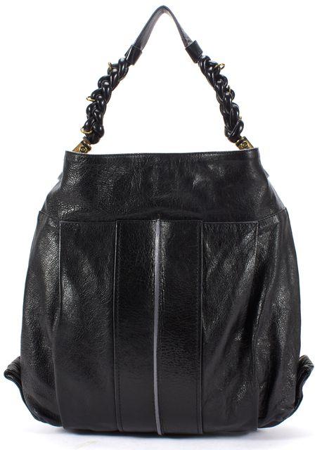 CHLOÉ CHLOÉ Black Leather Heloise Large Brass Hardware Braided Top Handle Hobo Bag