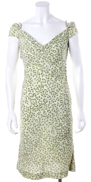 CHLOÉ Ivory Green Abstract Floral Print Off Shoulder Casual Sheath Dress
