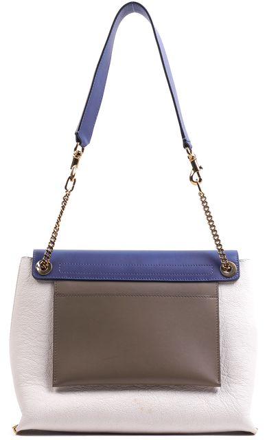 CHLOÉ Beige Ivory Blue Gold Chain Link Leather Shoulder Bag Handbag