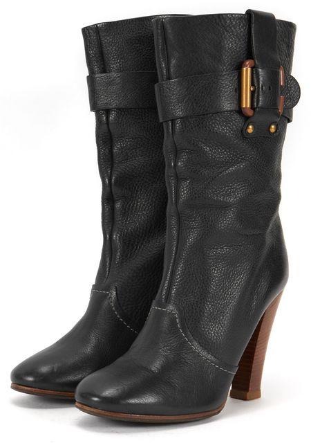 CHLOÉ CHLOÉ Black Brown Leather Mid Calf Boots