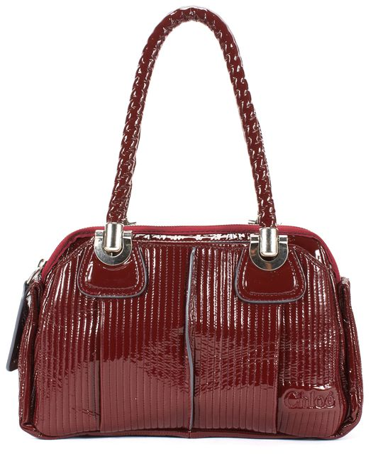 CHLOÉ Red Patent Leather Silver Hardware Zip-up Shoulder Bag Handbag