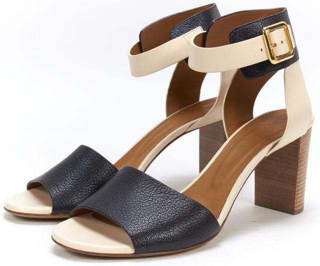 CHLOÉ CHLOÉ Black Beige Leather Ankle Strap Block Heel Sandals