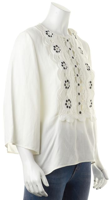 CHLOÉ White Black Open Embroidered Knit Relaxed Fit Blouse Top