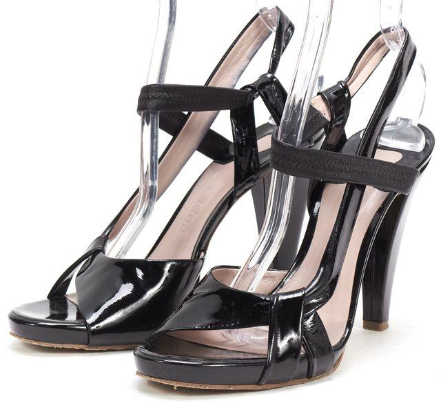 CHLOÉ Black Patent Leather Multi Strap Slingback Sandal Heels