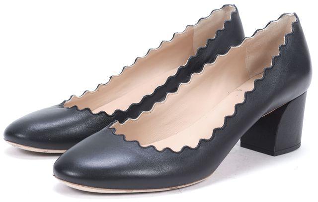 CHLOÉ CHLOÉ Black Leather Laura Scalloped Round Toe Pump Heels