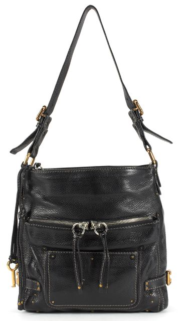 CHLOÉ CHLOÉ Black Pebbled Leather Gold Studded Adjustable Strap Shoulder Bag