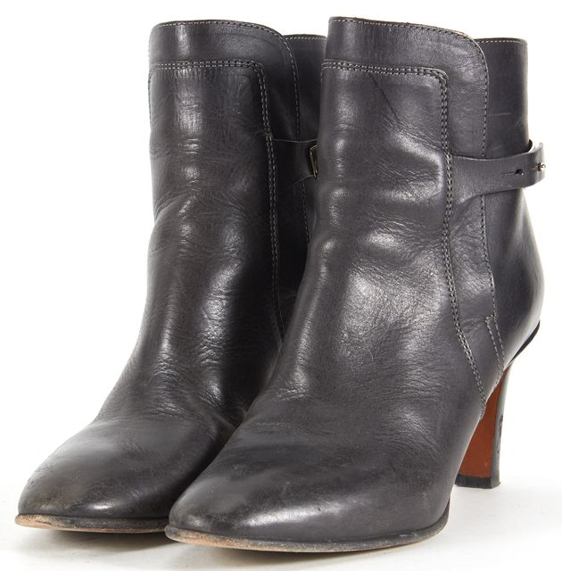 CHLOÉ Black Leather Silver Detail Ankle Boots