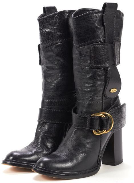 CHLOÉ CHLOÉ Black Leather Gold Buckle Stacked Heel Calf High Boots