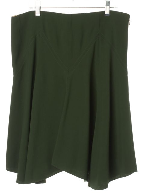 CHLOÉ Forrest Green Pleated Above Knee A-Line Skirt
