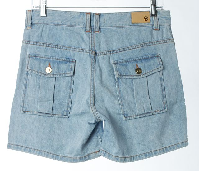 CHLOÉ Blue Delave High Waisted Button Front Denim Shorts