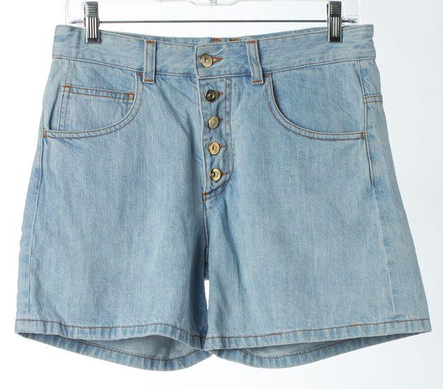 CHLOÉ Blue Delave High Waisted Button Front Denim Shorts