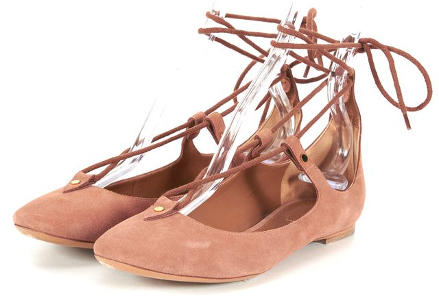CHLOÉ CHLOÉ Pink Suede Lace Up Round Toe Ballet Flats