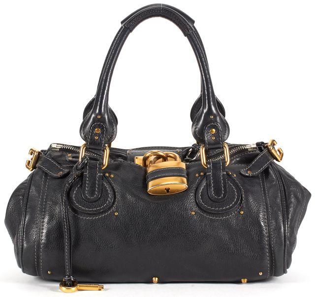CHLOÉ Black Pebbled Leather Gold Hardware Paddington Shoulder Bag