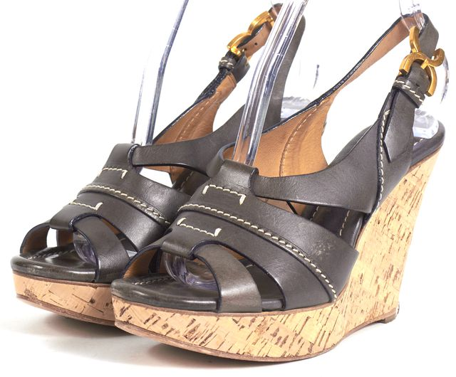 CHLOÉ Brown Leather Gold Hardware Wooden Wedges