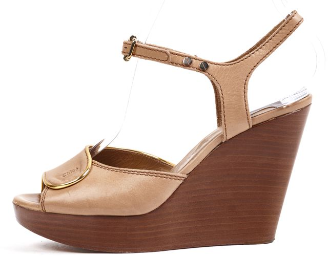 CHLOÉ Beige Metallic Gold Trim Leather Platforms & Wedges Sandal