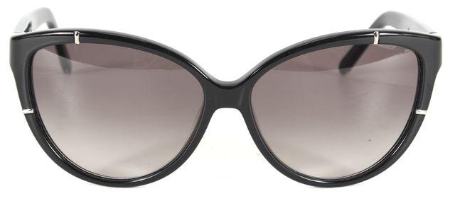 CHLOÉ Black Acetate Oversized Cat Eye Frame Gradient Lens Sunglasses w Case