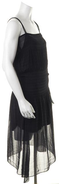 CHLOÉ Black Spaghetti Strap Sheer Blouson Slip Dress