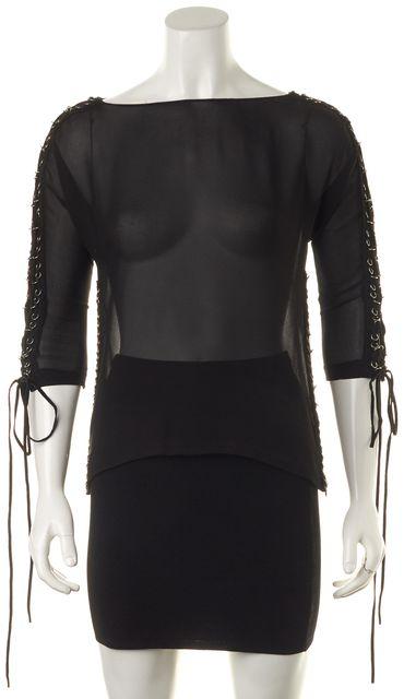 CHLOÉ Black Sheer Silk Lace Up Suede Grommet Trim 3/4 Sleeves Blouse